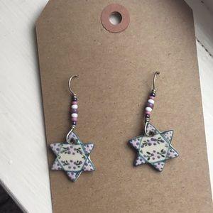 Star of David handmade painted vintage earrings